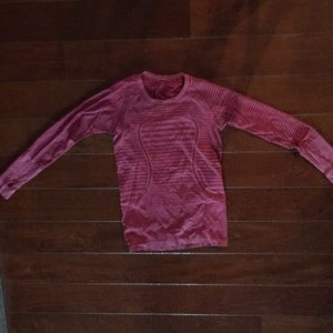 Pink striped lululemon long sleeve shirt